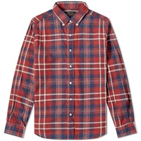 Beams Plus Button Down Indian Madras Shirt Red