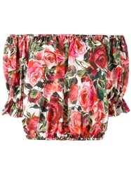 Dolce And Gabbana Rose Pink Print Cropped Blouse