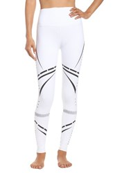 Alo Yoga Women's 'Airbrushed' Glossy Leggings White Black Chakra