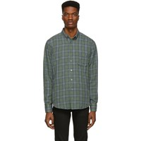 Naked And Famous Denim Green Blue Plaid Double Cloth Easy Shirt