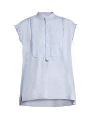 Nili Lotan Elise Frayed Edge Cotton Shirt Light Blue