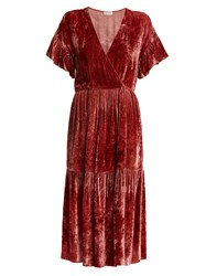 Masscob Deep V Neck Velvet Midi Dress Red