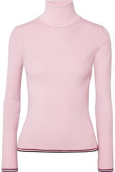 Thom Browne Ribbed Striped Wool Blend Turtleneck Sweater Baby Pink