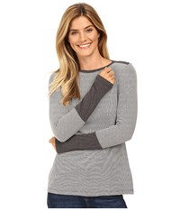 Mod O Doc Mini Stripe Long Sleeve Tee W Heather Contrast Grey Women's T Shirt Gray