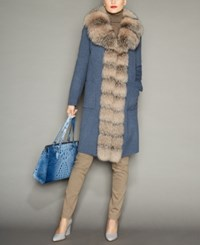 The Fur Vault Fox Trim Wool Coat Jean Gray Rose