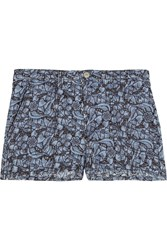 Etoile Isabel Marant Floral Embroidered Denim Shorts Blue