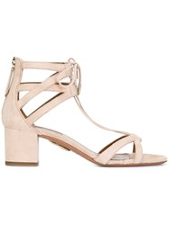 Aquazzura Ankle Tie Sandals Nude And Neutrals