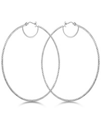 Guess Textured Hoop Earrings Silver