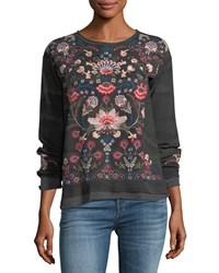 Johnny Was Nindi Embroidered Thermal Pullover Plus Size Forrest Camo