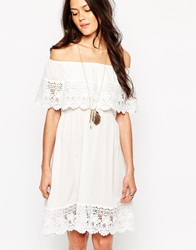 Max C London Max C Bardot Frill Mini Beach Dress White