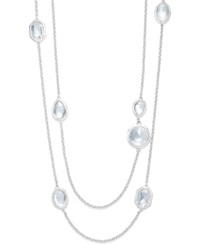 Alfani Crystal Station Two Row Necklace Silver