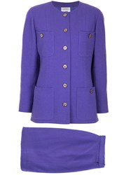 Chanel Vintage Buttoned Classic Chic Suit Pink And Purple