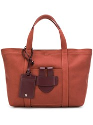 Tila March Small Leather Trim Tote Red