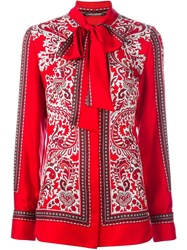 Alexander Mcqueen Paisley Print Scarf Blouse Red