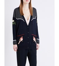 Stella Mccartney Bird Embroidered Wool Cardigan Blue Blk