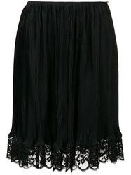 Paco Rabanne Lace Trimmed Straight Skirt Black