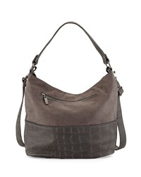 Neiman Marcus Crocodile Embossed Zip Trim Hobo Bag Charcoal Grey