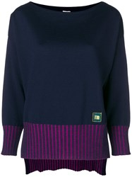 I'm Isola Marras Contrast Ribbed Sweater Blue