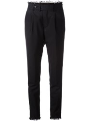 Msgm Raw Edge Tapered Trousers Black