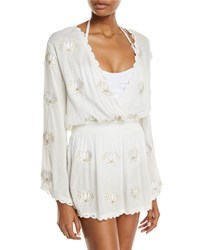 Letarte Embroidered Floral Long Sleeve Coverup Tunic White