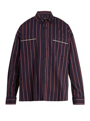Fear Of God Oversized Pinstripe Cotton Shirt Red Navy