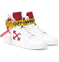 Off White Industrial Full Grain Leather Suede And Ripstop High Top Sneakers White