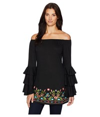 Scully Batya Beautiful Triple Tier Sleeve Embroidered Tunic Black Clothing