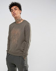 Black Kaviar Sweatshirt In Khaki With Phoenix Embroidery Khaki Green