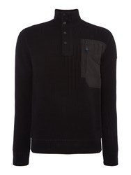 Duck And Cover Men's Raider Half Cardigan Knit Black