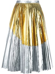 N 21 No21 Metallic Pleated Skirt Grey