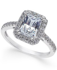 Arabella Swarovski Zirconia Square Ring In 14K White Gold Only At Macy's