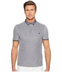 Fred Perry Woven Collar Pique Shirt Dark Carbon Oxford Men's Clothing White