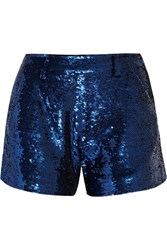 Ashish Sequined Cotton Shorts Blue