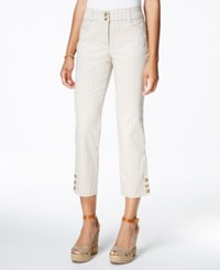 Charter Club Tummy Control Printed Cropped Pants Only At Macy's Sand Combo