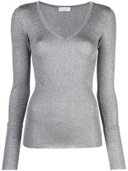 Brunello Cucinelli Glitter V Neck Jumper Grey