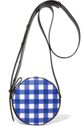 Diane Von Furstenberg Circle Gingham Leather Shoulder Bag Blue