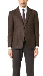 Brooklyn Tailors Unstructured Herringbone Tweed Jacket Campfire Brown