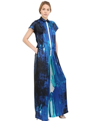 Larusmiani Printed Silk Satin Jumpsuit Blue White