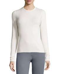 Carolina Herrera Long Sleeve Classic Cashmere Blend Sweater Blush