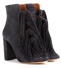 Chloe Tasselled Suede Ankle Boots Grey