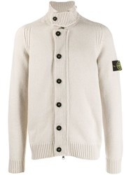 Stone Island Signature Logo Patch Cardigan Neutrals