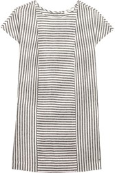 Madewell Daphne Striped Linen Blend Mini Dress Gray