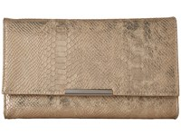 Jessica Mcclintock Nora Metallic Snake Large Envelope Clutch Gold Clutch Handbags