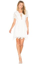 J.O.A. Lace Up Crochet Mini Dress White