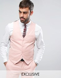 Only And Sons Super Skinny Waistcoat In Cotton Sateen Misty Rose Pink