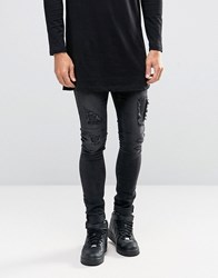Asos Extreme Super Skinny Jeans With Rips And Faux Leather Backing Black