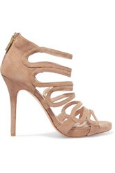 Lucy Choi London Romeo Cutout Suede Sandals Beige