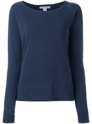 James Perse Scoop Neck Sweatshirt Blue