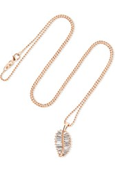 Anita Ko Palm Leaf 18 Karat Rose Gold Diamond Necklace One Size