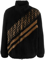 Fendi Ff Motif Faux Fur Jacket Black